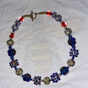 Handmade glass lamp work multi-color necklace